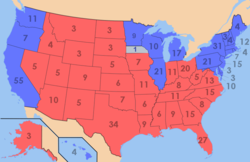 Presidential electoral votes by state. Red is Republican; blue is Democratic.