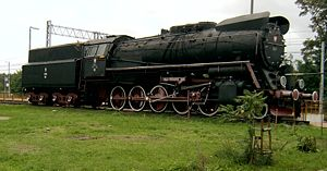 Rzepin railway station - Ty51-37 steam train plinthed at the station.