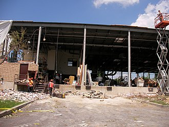 2006 Westchester County tornado - The California Closets Warehouse that was severely damaged by the tornado