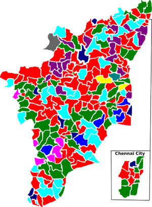 Tamil Nadu Legislative Assembly election, 2006 - Election map of results based on parties. Colours are based on the results table on the left