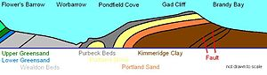Pondfield Cove - Geology of the coast line by Worbarrow Tout and Pondfield Cove