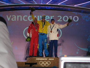France at the 2010 Winter Olympics - Vincent Jay (right) bronze medalist in the Men's pursuit.