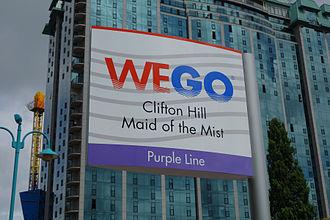 WEGO Niagara Falls Visitor Transportation - A WEGO Purple Line bus stop sign on Clifton Hill