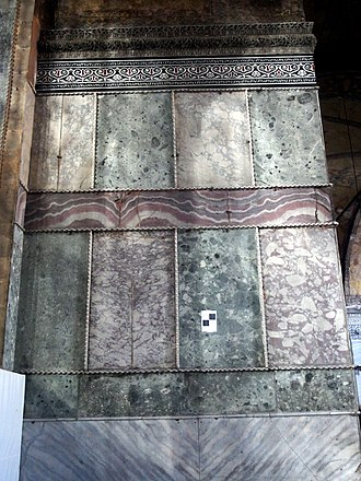 Polychrome marble revetment on the wall of the gallery 20131203 Istanbul 100.jpg