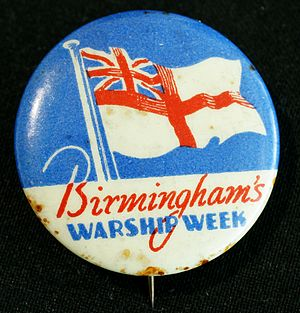 Warship Week - Fund-raising badge sold during Warship Week in Birmingham, now in Thinktank, Birmingham Science Museum