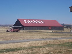 City name written on barn in Shaniko