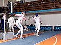 2nd Leonidas Pirgos Fencing Tournament. Extension and touch by the fencer Vasilis Stantsios.jpg