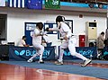 2nd Leonidas Pirgos Fencing Tournament. Extension and touch for the fencer on the right.jpg