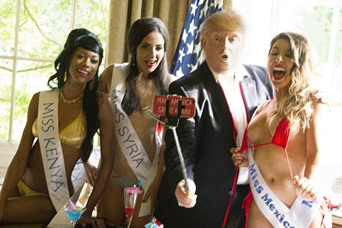 "Jackson photo: ""Trump"" taking a selfie with beauty queens; all are lookalikes 4 - TRUMP SELFIE NONBLUR IMG 6535.jpg"