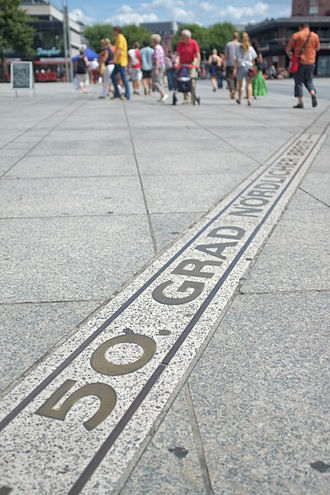 50th parallel north - 50th latitude mark in central Mainz, Germany