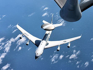 513th Air Control Group - An E-3 Sentry airborne warning and control system aircraft breaks away from a Mississippi Air National Guard KC-135 Stratotanker during a presidential support mission to Argentina