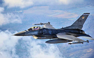 55th Fighter Squadron - 55th FS F-16C Block 50D 98-0003 in 2009 over South Carolina