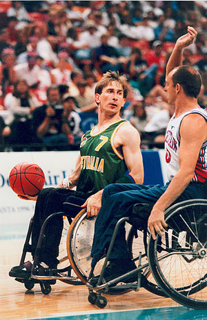 Sandy Blythe - Blythe looks to make a pass in the gold medal game against Great Britain at the 1996 Atlanta Paralympic Games