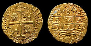 1715 Treasure Fleet - Rare 8 Escudos Lima dated 1710 recovered from the 1715 Fleet.