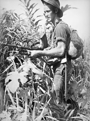 35th Battalion (Australia) - A soldier from the 35th Battalion on patrol around Alexishafen, May 1944