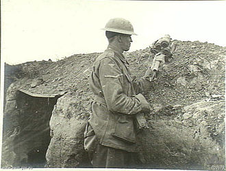 27th Battalion (Australia) - A soldier from the 27th Battalion in the trenches at Villers-Bretonneux, July 1918