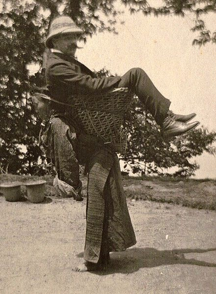 File:A British merchant being carried by a Sikkimese lady.jpg