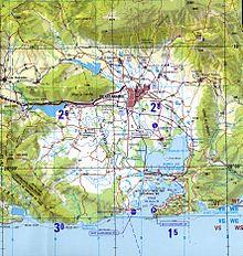 Confini dell'area occupata dalla base in una carta topografica della CIA.