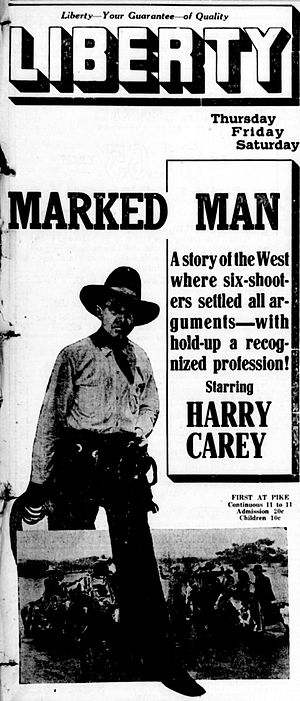 A Marked Man - Newspaper advertisement.