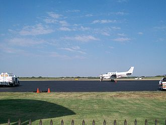 Denton Enterprise Airport - A private plane landing at the airport