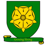 A coat of arms showing a golden rose with five petals on a green field