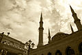 A church and a mosque in Beirut Lebanon.jpg