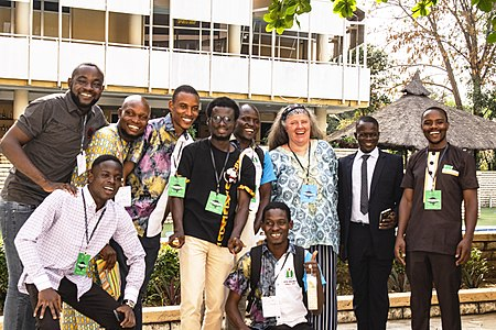 A group picture with Christel at WikiIndaba 2019.jpg