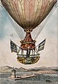 A man is coming in to land in a large hot-air balloon, he is Wellcome V0040882.jpg