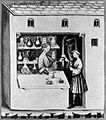 A pharmacist dispensing syropus acetosus in his shop. Wellcome L0005335.jpg