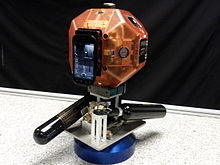 A smartphone-equipped SPHERES satellite.