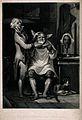 A village barber shaving a man. Mezzotint by S.W. Reynolds a Wellcome V0019624.jpg