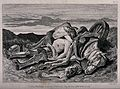 A young woman bemouns the death of a knight. Etching by J. T Wellcome V0042293.jpg