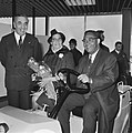 Aankomst dr. J. H. E. Ferrier , gouverneur van Suriname Schiphol. Ferrier met ec, Bestanddeelnr 921-1422.jpg