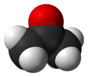 Acetone is an important feeder material in the chemical industry(oxygen is in red, carbon in black and hydrogen in white).