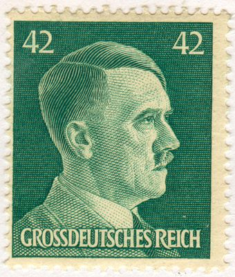 Hitler portrayed on a 42 pfennig stamp from 1944. The term Grossdeutsches Reich (Greater German Reich) was first used in 1943 for the expanded Germany under his rule. Adolf Hitler 42 Pfennig stamp.jpg