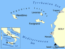 A map showing the locations of the Aegates Islands