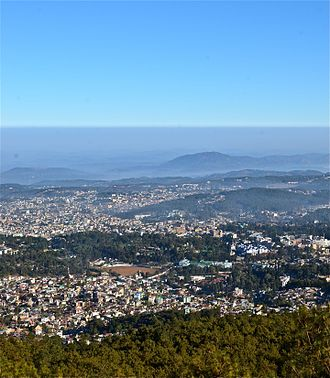 Meghalaya - An aerial view of the state capital, Shillong.