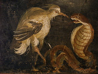 National Archaeological Museum, Naples - Heron and cobra. Ancient Roman fresco from House of Epigrammes, Pompeii (45–79 d.C.), Italy