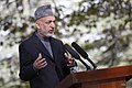 Afghan President Hamid Karzai makes remarks during a press conference with U.S. Secretary of State Hillary Rodham Clinton at the Presidential Palace in Kabul, Afghanistan 111020-S-PA947-1063.jpg