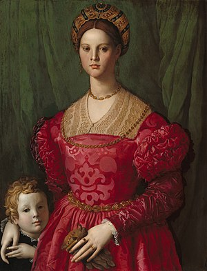 Maria de' Medici (1540–1557) - A portrait of an unknown woman and boy by Bronzino. Maike Vogt-Lüerssen believes the woman is Maria de' Medici, depicted with her younger brother Antonio. Both children died young.