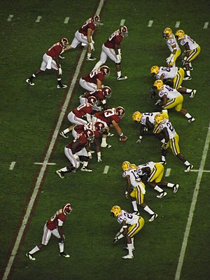 2011 LSU vs. Alabama football game - The Alabama offense lined up against the LSU defense.