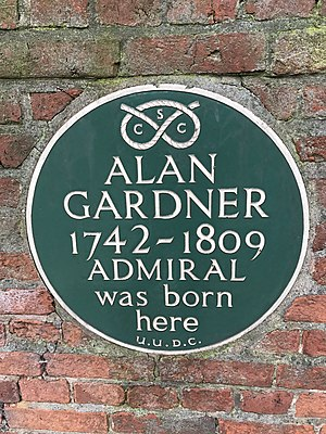 Alan Gardner, 1st Baron Gardner - Alan Gardner Plaque