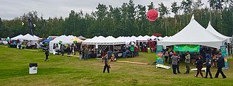 Cannabis in Alaska - Portion of the vendor area at the High Times Alaska Cup cannabis festival and competition outside of Wasilla in 2018