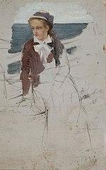 Laivan kaiteen ääressä istuva nainen, luonnos