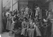 Alice Morgan Wright (seated third from left) with other students and models in art class.jpg
