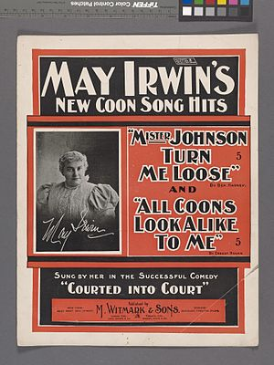 May Irwin - The cover of sheet music featuring one of Irwin's songs originally performed in the Broadway musical Courted into Court.