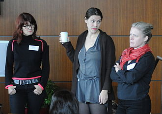 Riot grrrl - Allison Wolfe, Anna Oxygen and Jen Smith at a 2011 conference