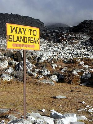 Imja Tse - Sign indicating the route to Imja Tse high camp.