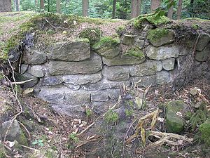 The exposed section of the wall from the inside