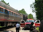 Amfleet cars and first responders after July 2011 grade crossing accident.jpg